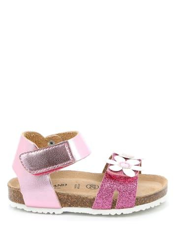 Grünland Leder-Sandalen in Pink/ Weiß