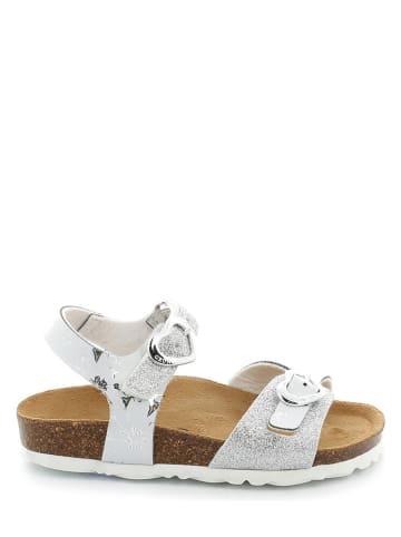 Grünland Sandalen in Weiß/ Silber