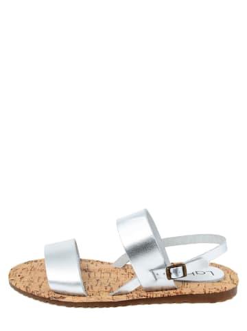 LAB78 Skórzane sandały w kolorze srebrnym