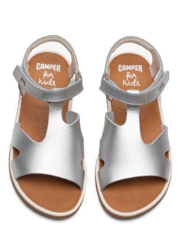 """Camper Skórzane sandały """"Miko"""" w kolorze srebrnym"""