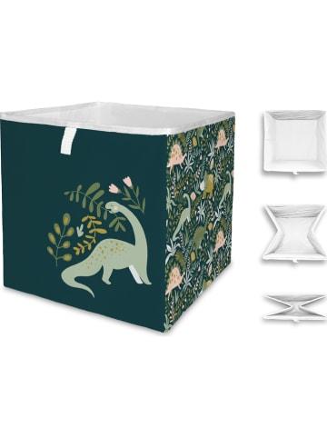 "Mr Little Fox Vouwbox ""Friendly dinosaurs"" donkergroen/kaki - (B)32 x (H)32 x (D)32 cm"