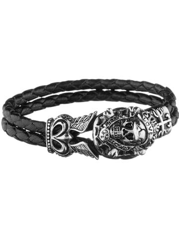 "Bastille baobab Leren armband ""Jourdain"" zwart"