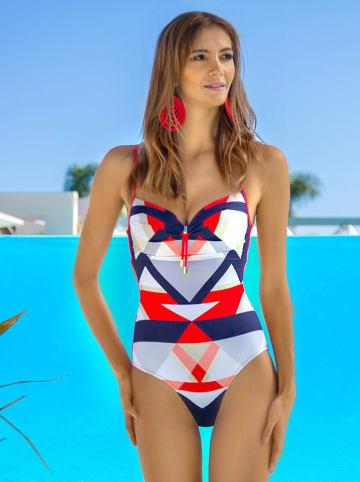 Meriell Club Strój kąpielowy w kolorze granatowo-biało-czerwonym