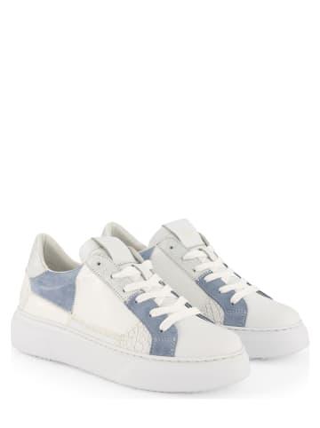 """NoGRZ Leren sneakers """"B.Lafon"""" wit/blauw"""