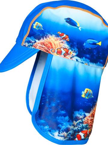 Playshoes Czapka w kolorze niebieskim ze wzorem z osłoną karku