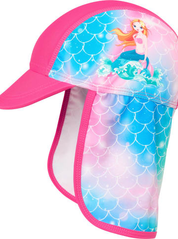 Playshoes Czapka w kolorze różwym ze wzorem z osłoną karku