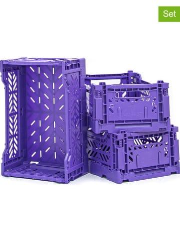 Madre Selva Kids 3-delige set: opbergboxen paars - (B)26 x (H)10 x (D)16,5 cm