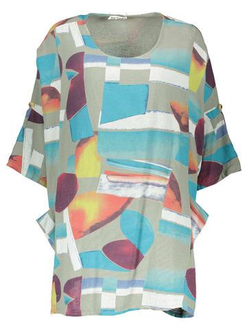 Linen Factory Tunika w kolorze oliwkowym ze wzorem