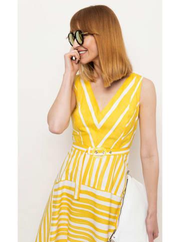 Deni Cler Sukienka w kolorze biało-żółtym