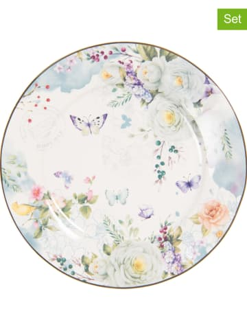 Clayre & Eef Talerzyki śniadaniowe (6 szt.) w kolorze białym ze wzorem - Ø 19 cm