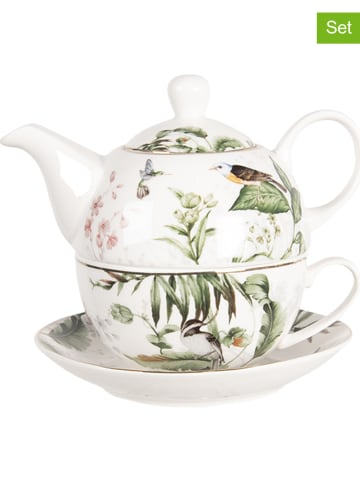 Clayre & Eef 2tlg. Tea-for-one-Set in Weiß/ Grün