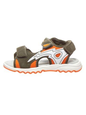 Richter Shoes Skórzane sandały w kolorze pomarańczowo-oliwkowym