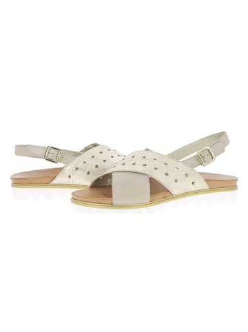 Andrea Conti Skórzane sandały w kolorze beżowo-złotym