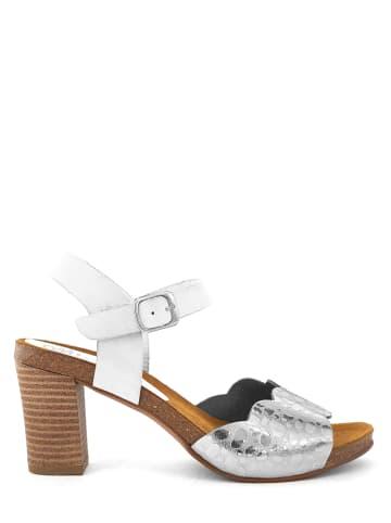 Mia Loé Leder-Sandaletten in Silber/ Weiß