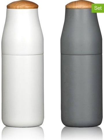 Ogo Living Młynki do przypraw (2 szt.) w kolorze białym i szarym - wys. 18 cm