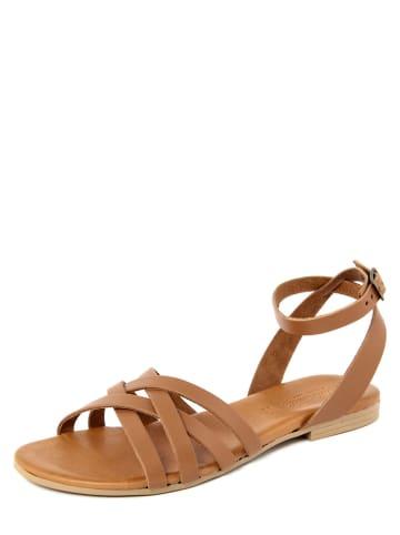 Christianelle Skórzane sandały w kolorze jasnobrązowym
