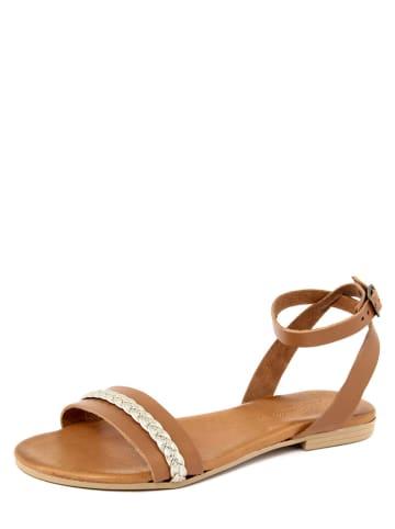 Christianelle Leren sandalen lichtbruin/goudkleurig