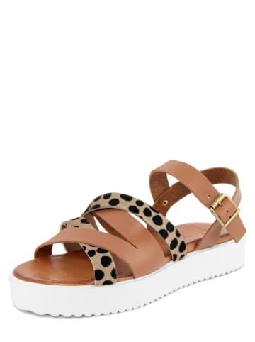 Christianelle Skórzane sandały w kolorze jasnobrązowo-beżowym