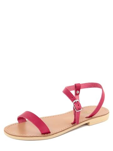 Donna Toscana Skórzane sandały w kolorze fuksji