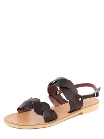Donna Toscana Leren sandalen donkerbruin