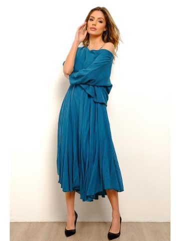 La Fabrique du Lin Lniana sukienka w kolorze morskim