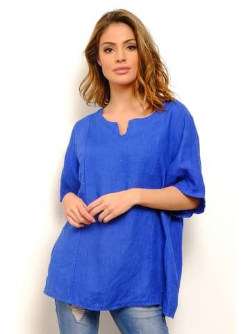 "La Compagnie Du Lin Linnen blouse ""Sacha"" blauw"