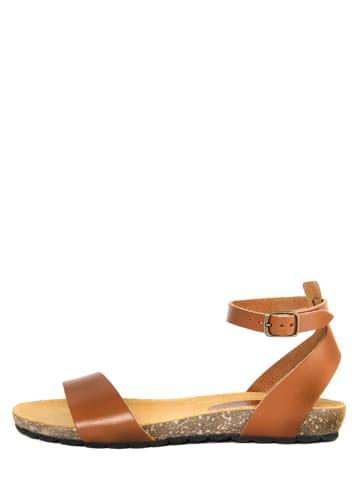 PIEMME SHOES Skórzane sandały w kolorze jasnobrązowym