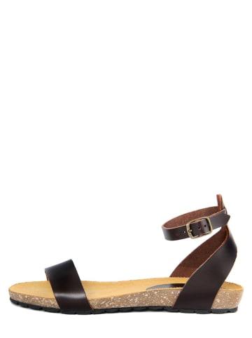 PIEMME SHOES Skórzane sandały w kolorze brązowym