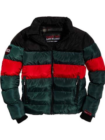 "Superdry Winterjas ""Colour Stripe Sports"" donkergroen/rood/zwart"