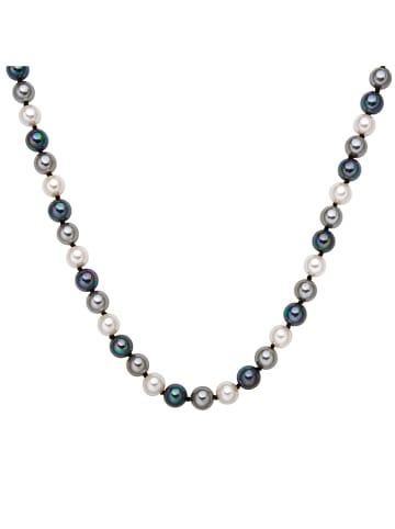 Nova Pearls Copenhagen Perlen-Halskette in Weiß/ Blau/ Anthrazit - (L)45 cm