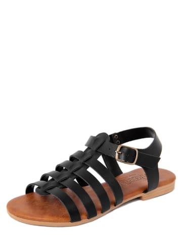 Starlit Leder-Sandalen in Schwarz