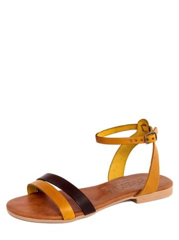 Starlit Leder-Sandalen in Gelb/ Braun