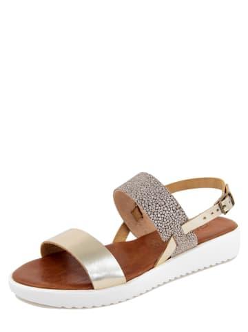 Starlit Leder-Sandaletten in Gold/ Bronze