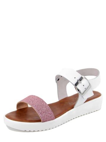 Starlit Leder-Sandaletten in Weiß/ Rosa