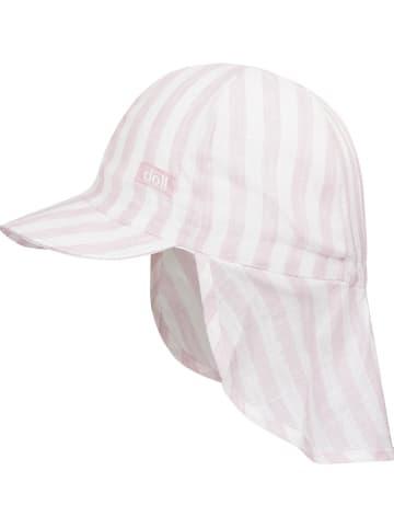 Döll Lniana czapka w kolorze fioletowo-białym z osłoną karku