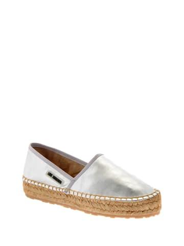 Love Moschino Leder-Espadrilles in Silber