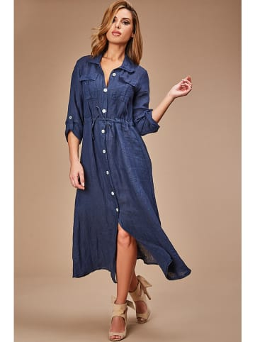 100% LIN Linnen jurk donkerblauw