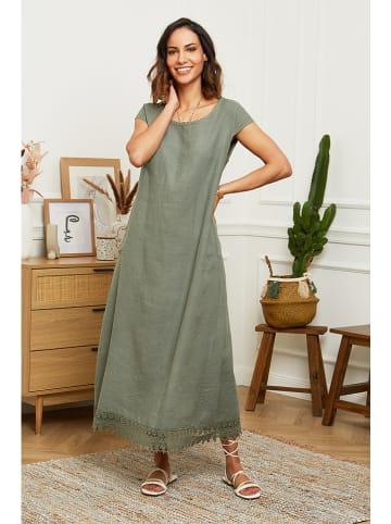 Naturelle en lin Leinen-Kleid in Khaki