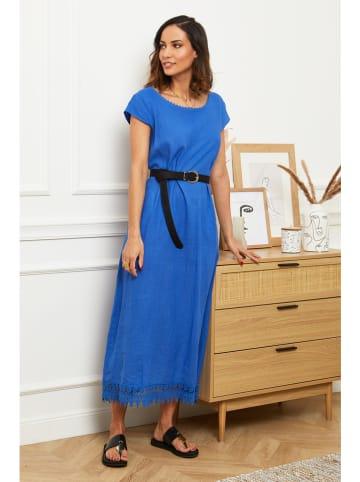 Naturelle en lin Leinen-Kleid in Blau