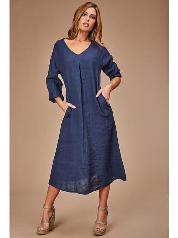 Le Monde du Lin Linnen jurk donkerblauw