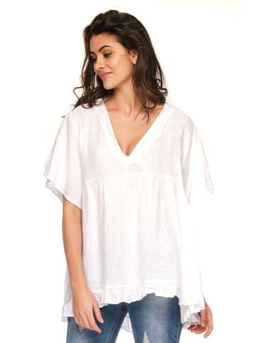 "Fleur de Lin Lniana koszulka ""Abel"" w kolorze białym"