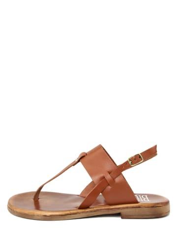 BlueTag Skórzane sandały w kolorze brązowym