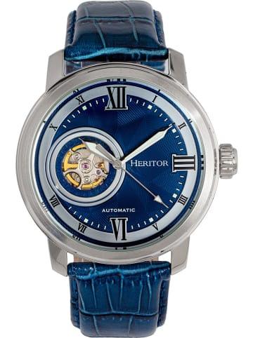 """Heritor Zegarek automatyczny """"Maxim"""" w kolorze srebrno-niebieskim"""