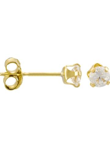 """OR ÉCLAT Gouden oorstekers """"Puces"""" met zirkonia's"""