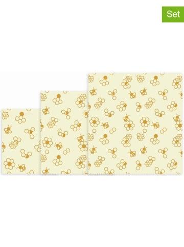 """NUTS 3-delige set: bijenwasdoeken """"Honeycomb"""" crème/geel"""