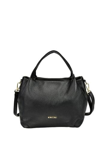 BOSCCOLO Skórzana torebka w kolorze czarnym - (S)30 x (W)21 x (G)14 cm