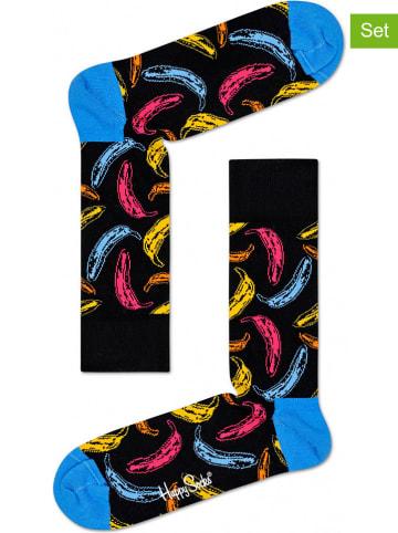 """Happy Socks Skarpety (2 pary) """"Andy Warhol Banana"""" w kolorze czarnym ze wzorem"""