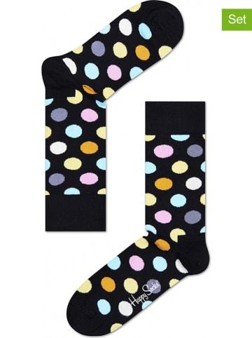 """Happy Socks 2er-Set: Socken """"Big Dots"""" in Schwarz/ Bunt"""