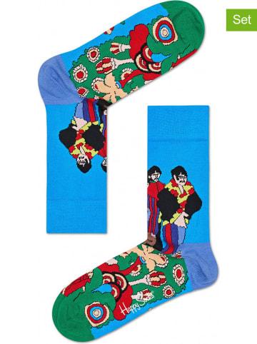 """Happy Socks Skarpety (2 pary) """"Pepp"""" w kolorze błękitnym ze wzorem"""