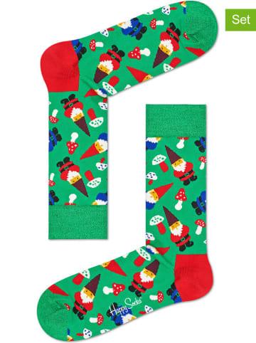 """Happy Socks 2-delige set: sokken """"Garden Gnome"""" groen/meerkleurig"""